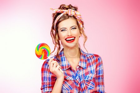 sweet girl with lollipop