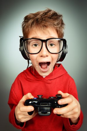 computer games. Funny boy gamer.