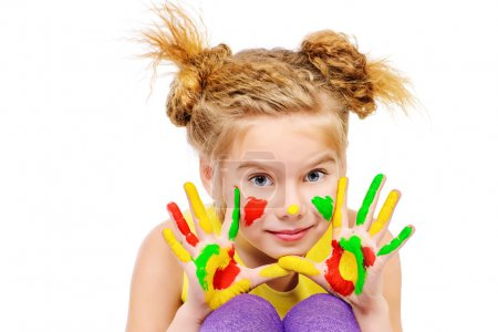 Photo for Cute little girl with painted colorful hands. Happy childhood. Isolated over white. - Royalty Free Image
