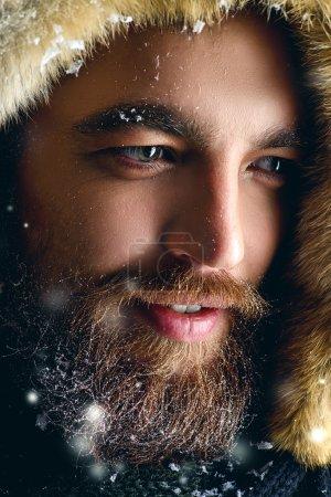 winter man, brutal man with beard .