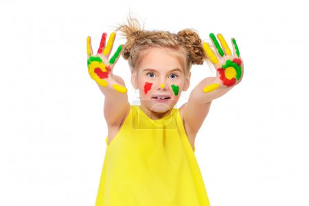 happy painting. Cute little girl with painted colorful hands.