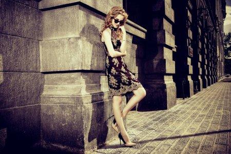 outdoor fashion. Fashion shot. Sepia.