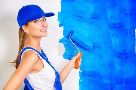 blue paint, construction