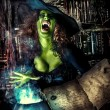 Fairy wicked witch in the wizarding lair. Magic. H...