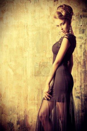 Photo for Stunning female model in black evening dress. Fashion shot. - Royalty Free Image