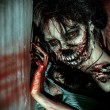 Close-up portrait of a scary bloody zombie girl. H...