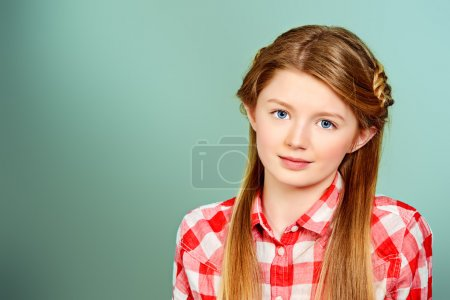 Photo for Cute smiling teen girl posing at studio. Youth style. Education. - Royalty Free Image