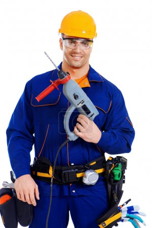 Photo pour Male construction worker with a drill. Job, occupation. Isolated over white. - image libre de droit