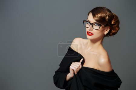 Photo for Beautiful woman wearing glasses. Beauty, fashion. Make-up. Optics, eyewear. - Royalty Free Image