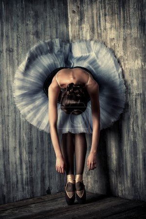 Photo for Professional ballet dancer resting after the performance. Art concept. - Royalty Free Image
