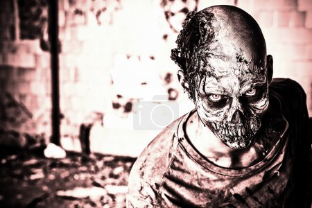 Photo for Horrible scary zombie man on the ruins of an old house. Horror. Halloween. - Royalty Free Image