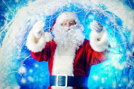 Photo for Portrait of Santa Claus in a winter magic forest. Christmas time. - Royalty Free Image