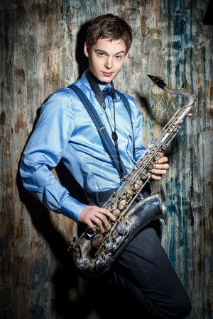jazz musician with his saxophone.