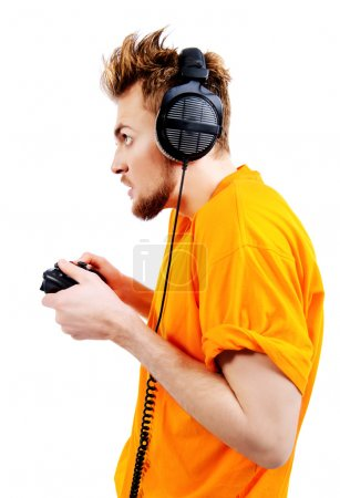 crazy gamer with controller and headphones.