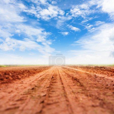 Photo pour Route rurale et ciel bleu avec nuages. (faible profondeur de champ ) - image libre de droit