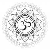 Sanskrit sacred symbol Om with ethnic ornament