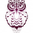 Vector illustration with owl tattoo isolated on wh...