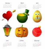 Holiday symbols set with calendar dates for year 2015 featuring St Valentines Easter Saint Patricks Day Ramadan Halloween and Christmas