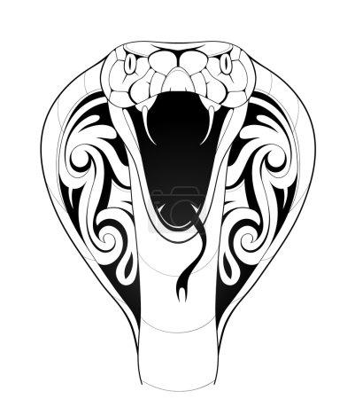Illustration pour Illustration vectorielle avec tatouage de serpent cobra sur blanc - image libre de droit