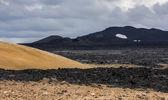 Black Ground of Geothermal Landscape Krafla, Iceland