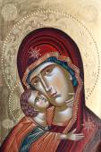 Painted icon of Virgin Mary and Jesus Christ. Painted Virgin Mary and Jesus Christ by unknown painter