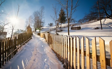 Narrow road covered by snow at countryside. Winter landscape with snowed trees, road and wooden fence. Cold winter day at countryside. Traditional Carpathian mountains village scenery, Romania