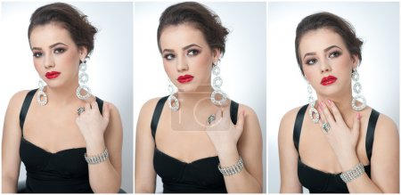 Hairstyle and make up - beautiful female art portrait with earrings. Elegance. Genuine natural brunette with jewelries in studio. Portrait of a attractive woman with red lips and creative makeup