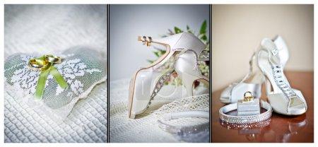 Foto de Zapatos de tacón altos zapatos de boda. Anillos y accesorios de la boda aislados - Imagen libre de derechos