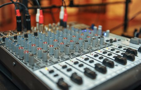 audio mixer, music equipment. recording studio gears, broadcasting tools, mixer, synthesizer. shallow dept of field for music background