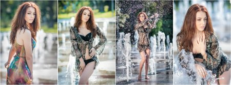 Attractive girl in multicolored short dress playing with water in a summer hottest day. Girl with wet dress enjoying fountains. Young beautiful happy female playing with outdoor water fountains.