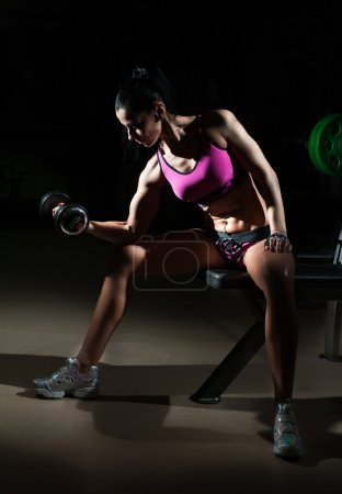 Gorgeous brunette lifting some weights and working on her biceps in a gym. Fitness woman doing workout. Sporty girl doing exercise in fitness center. Beautiful brunette toning her muscles at the gym