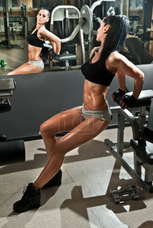Gorgeous brunette working on her abdomen in a gym, mirror reflection. Fitness woman doing workout. Sporty girl doing exercise in fitness center. Beautiful brunette toning her muscles at the gym