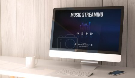 desktop computer music streaming on screen