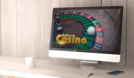 workspace with online casino on screen