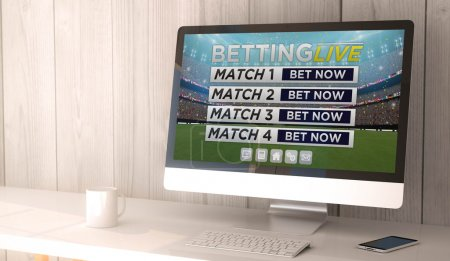 workspace with betting website on screen