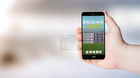 Mobile phone with betting online on screen