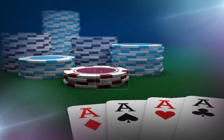 Poker aces and chips