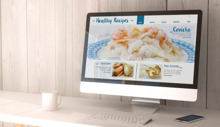workspace with healthy recipes on computer screen
