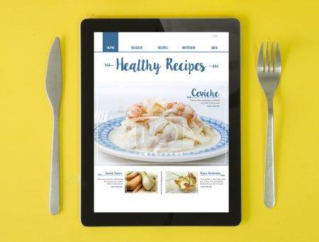 recetas en línea blog en la pantalla de la tableta