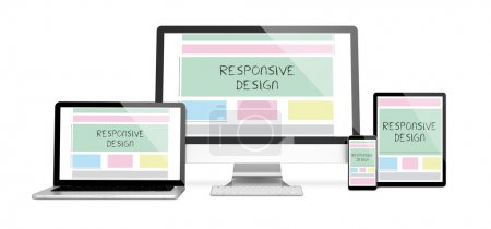 devices with responsive website design on screens