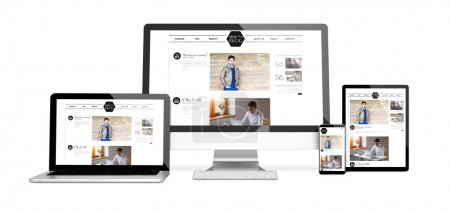 devices showing responsive blog on screens