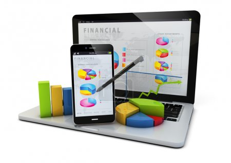 Photo for Render of an smartphone and a laptop with finances graphics - Royalty Free Image