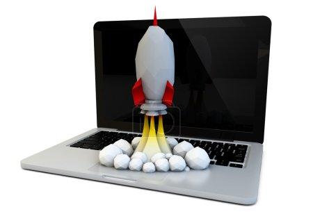 computer launch concept