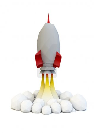 Photo for Render of a rocket launch, low poly style - Royalty Free Image