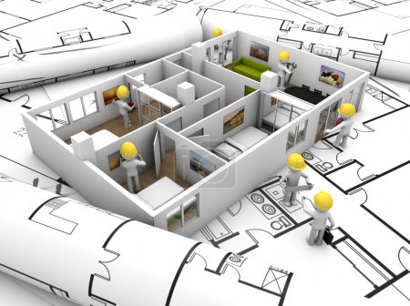 Photo for House refurbishing concept: house mock-up with workers over plots and technical draws - Royalty Free Image