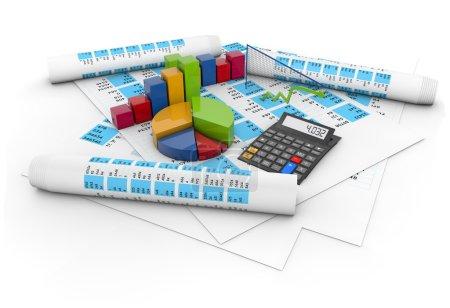 Photo pour Concept de comptes de solde : calculatrice, graphiques colorés et stylo sur des documents comptables isolés sur fond blanc - image libre de droit