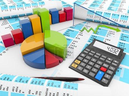 Photo pour Concept d'entreprise : rendu de graphiques et d'une calculatrice sur les comptes de solde - image libre de droit