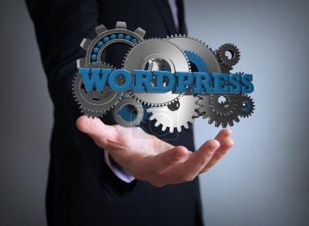 Wordpress Zahnräder Geschäftsmann