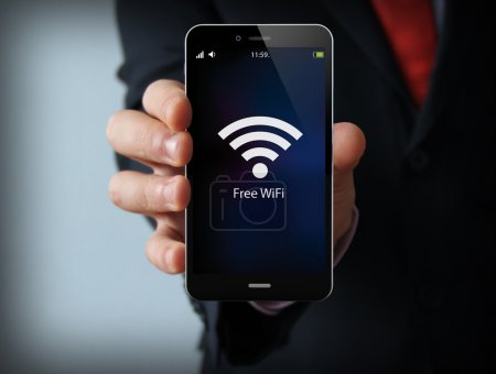 businessman free wifi zone
