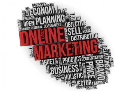 online marketing red text